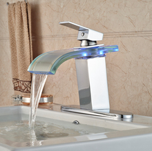 Brass Waterfall LED Light Basin Sink Faucet Deck Mount Glass Spout Bathroom Vanity Sink Mixer Tap