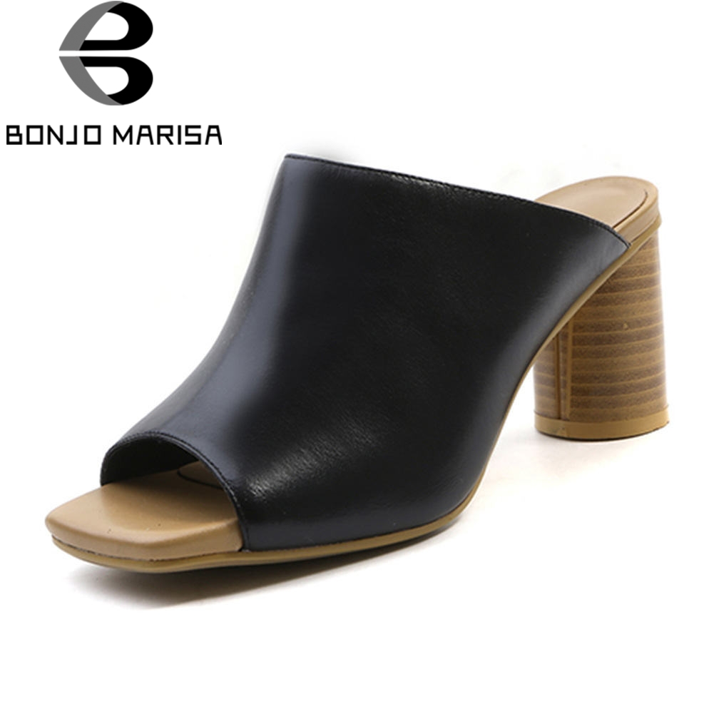 BONJOMARISA 2018 New Solid Square High Heels Slip On Women Shoes Woman Casual Summer Pumps Mule xiaying smile new summer women sandals high square heels pumps fashion platform shoes casual lady mature style slip on shoes