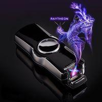 2019 USB Thunder fingerprint Lighter Electronic Lighter Cigarette Plasma Double Arc Palse Pulse Windproof Gadgets for Men Gift