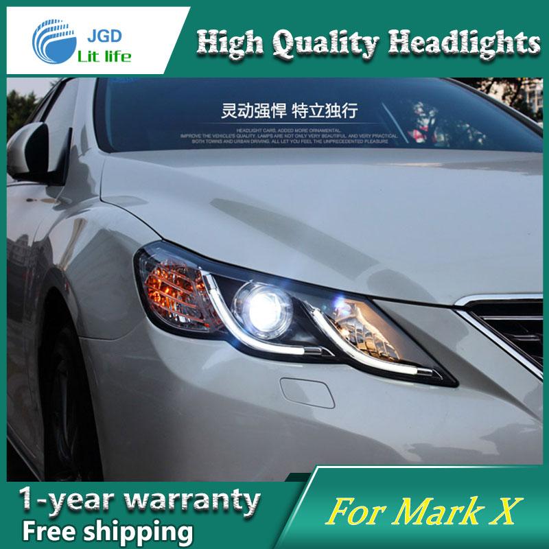 высокое качество чехол стайлинга автомобилей для Toyota Марк x фары 2012 Марк x фары LED объектив фар DRL двойной Луч HID