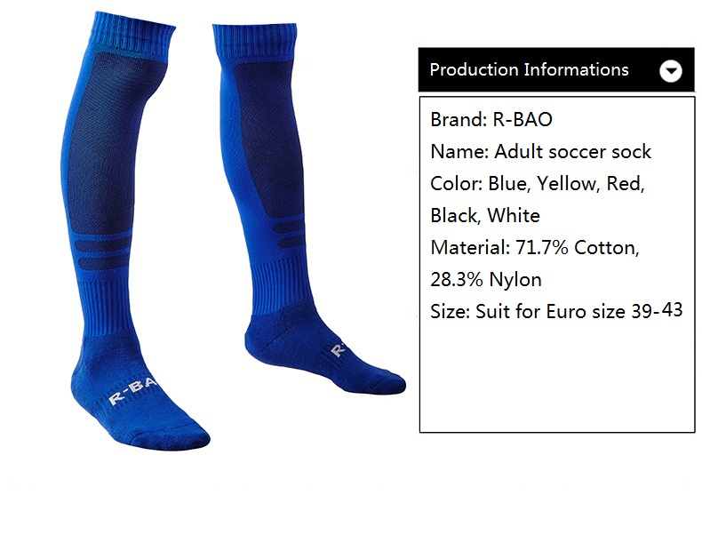 R-BAO, 1 пара, хлопковые мужские спортивные носки, прочные длинные футбольные спортивные носки, футбольные баскетбольные дышащие противоскользящие гольфы