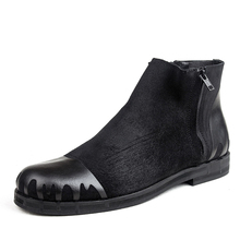 Autumn and winter casual boots male zipper chelsea the trend denim boots motorcycle boots