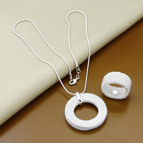 9a7d273a3b30 Malla red joyería 925 estampado color plata conjunto collar anillo joyería de  moda 18 pulgadas chic gran círculo bucle grande al por mayor -  www.salleram.ga
