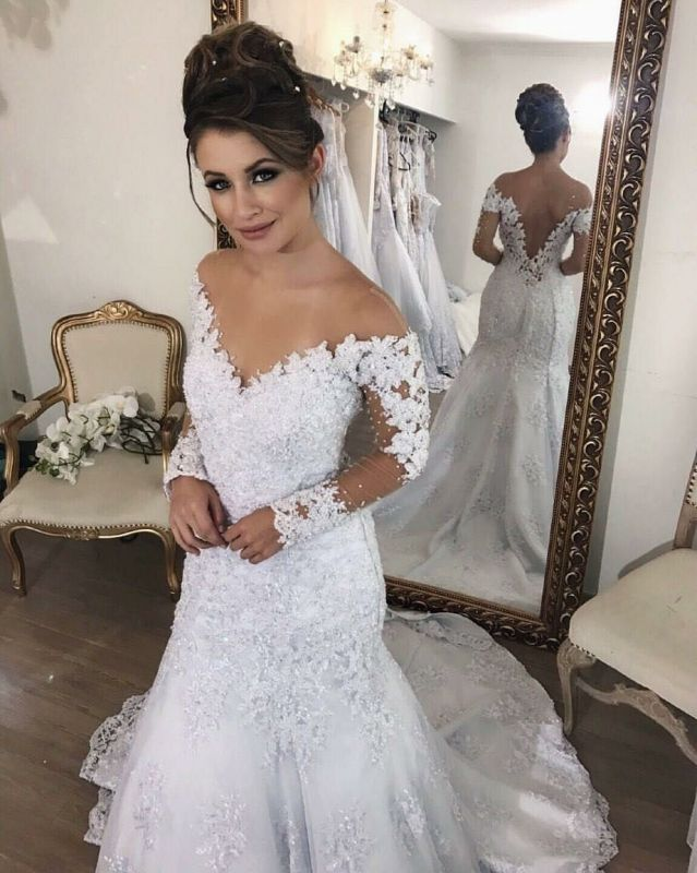 Buy vintage lace long sleeve wedding for V neck strapless wedding dress