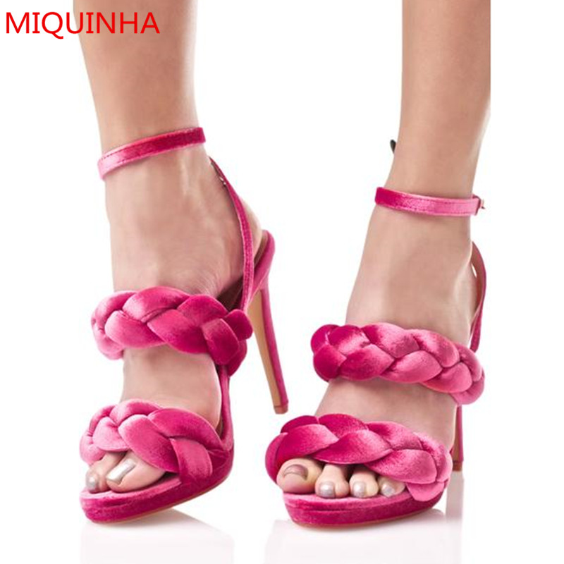 a19977fc1d3 MIQUINHA Velvet Braided Heels Women Sandals Open Toe Double Braided Straps  Ankle Strap Stiletto High Heel Summer Shoes Woman
