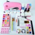 Profissional conjunto das unhas de acrílico, manicure conjunto de ferramentas ou decoração de unhas conjunto incluindo um 9 W UV secador de lâmpada & UV extensão gel