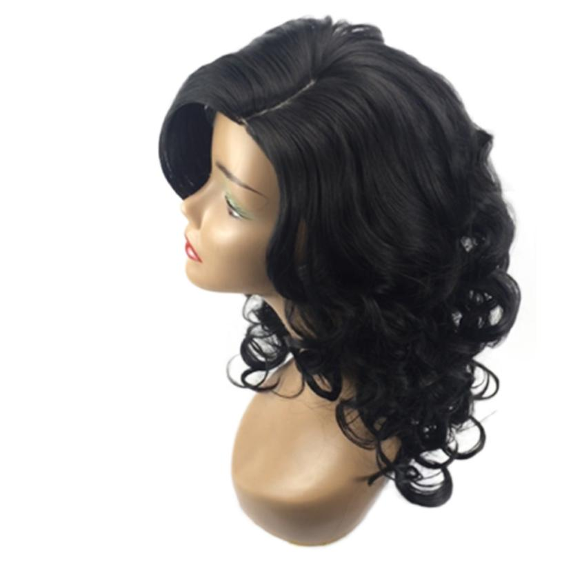 Women Black Brazilian Short Wavy Curly Parting High Temperature Fiber Wig Hair MAR27 Drop Shipping