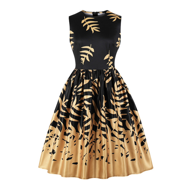 4605252046f6f US $12.59 |Women Plus Size Dress 4xl Floral Print Robe Vintage Gown  Sleeveless Summer Tunic Swing Party Midi Pin Up Rockabilly Dresses-in  Dresses from ...