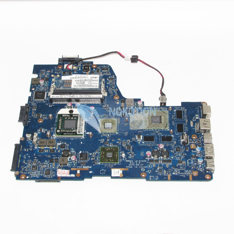 NOKOTION Main board For Toshiba Satellite A665D Laptop Motherboard NMQAE LA-6192P K000108490 Socket s1 Free CPU HD5650M graphics la 5754p 11s69038329 main board for lenovo g565 z565 laptop motherboard ddr3 socket s1 with free cpu
