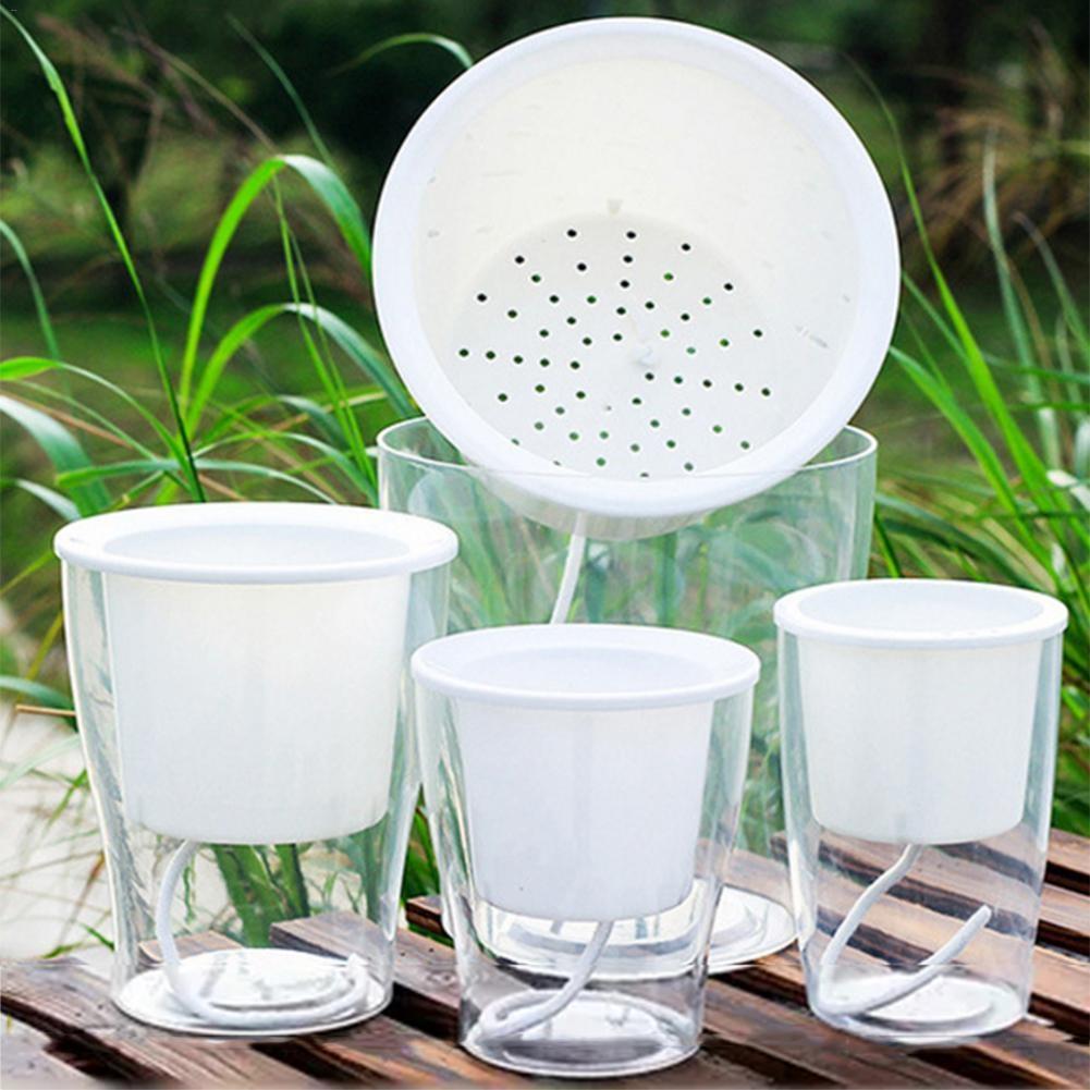 Self Watering Flowerpot Hydroponic Plants Transparent Plastic Vase