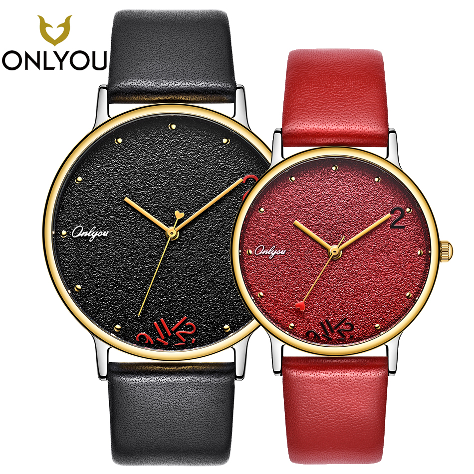 ONLYOU Lover Watch Couple Creative Quartz Wristwatch Valentine's Day Gift Anniversary Leather Strap Men Clock Fashion Women onlyou lover watches couple fashion unique wristwatch chinese style valentine s day present gift women caual quartz clock
