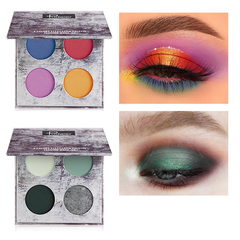 Eye Shadow Hot Sale Cmaadu 4 Coloful Glitter Eyeshadow Makeup Powder Palette Women Smoky Eyes Metallic Shimmer Eye Shadow Green Blue Purple Cosmetic