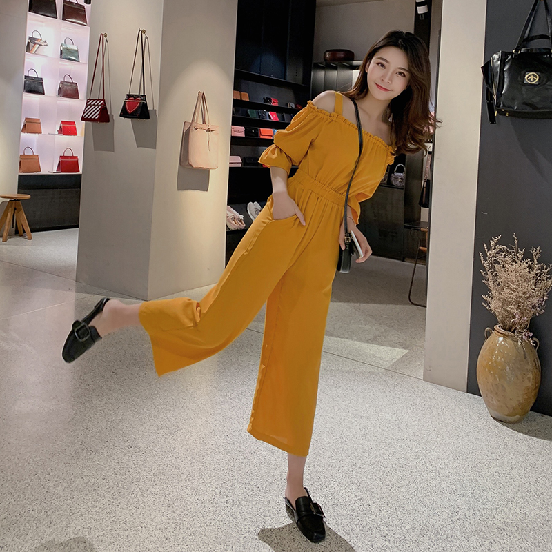 Women's Clothing 2019 Summer New Sexy Bohemian Style Spaghetti Strap Helf Sleeve High Waist Sling Long Beach Wide Leg Jumpsuit 4