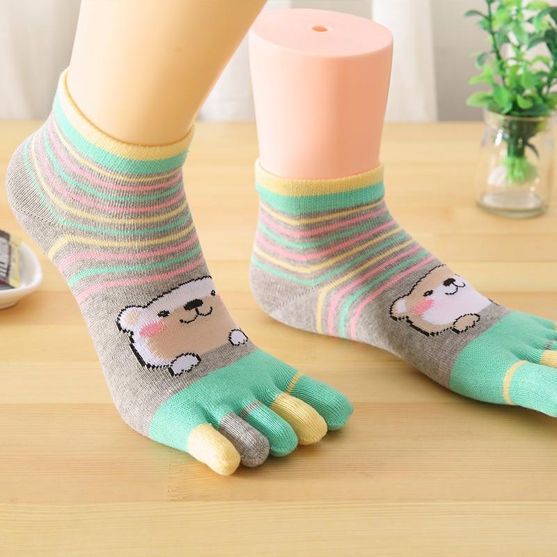 3 Pairs/ Lot Women Socks  Girl Five Fingers Sock Cotton Non Slip Massage Toe Sock
