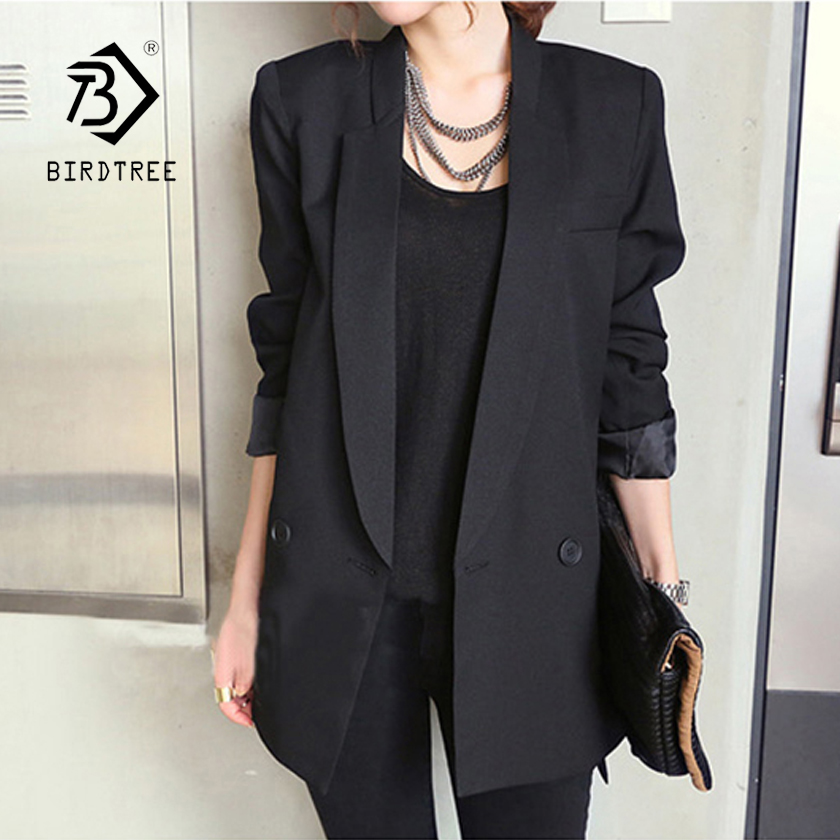 New Arrival Women's Classical Black Notched Split Double Breasted Loose Casual Blazer Office Lady Plus Size Top Hots C87324X
