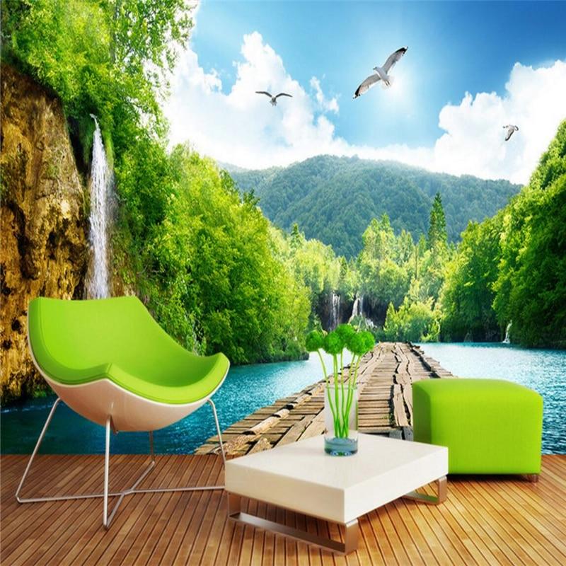 Beibehang Pemandangan Alam Indah Air Terjun Jembatan 3D Gambar