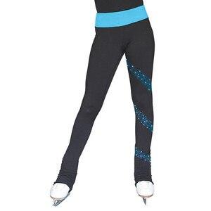 Image 3 - Łyżwiarstwo długie spodnie łyżwiarstwo figurowe spodnie dostosowane ciepłe polary dorosłe dziecko konkurs wydajność błyszczące Rhinestone