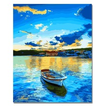 WEEN DIY Oil Paint by Numbers for beginner, Acrylic Painting Number Kits Kids -Blue lake and boat 40x50cm