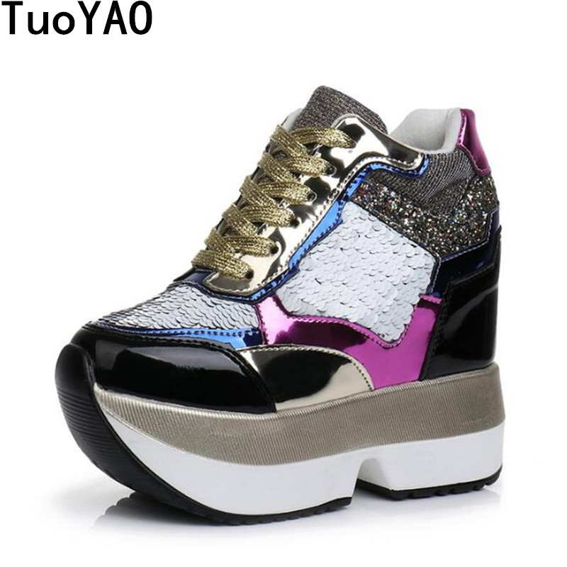Women High Platform Shoes 2019 Breathable Bling Shoes Women Height Increasing Shoes 13 CM Thick Sole Trainers Women Sneakers