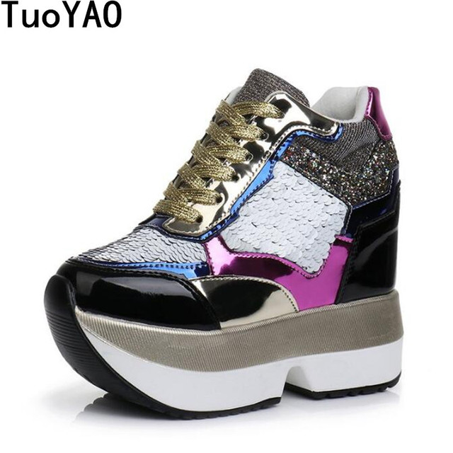 ce94f0e46cf9 Women High Platform Shoes 2019 Breathable Bling Shoes Women Height  Increasing Shoes 13 CM Thick Sole