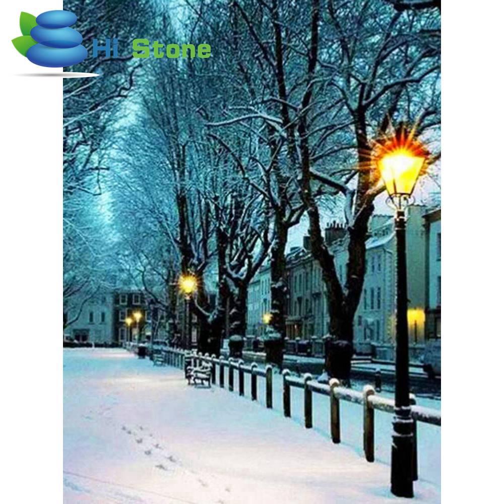 5D поделки алмазов картина снег ночная сцена полный квадрат горный хрусталь вышивка крестиком Алмазная вышивка мозаичные украшения подарок