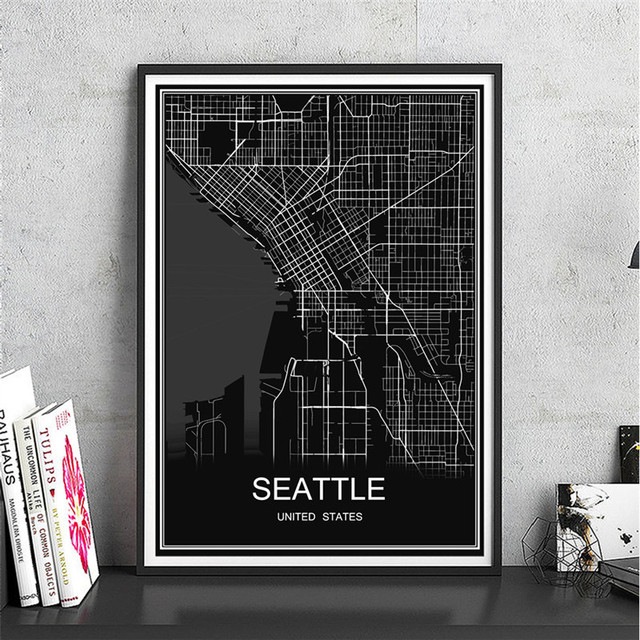 World map seattle canvas coated paper oil painting modern city poster abstract print picture cafe bar
