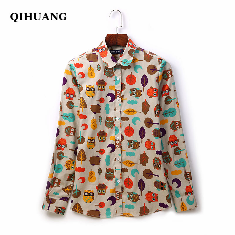 Latest Collection Of New Chiffon Blouse Bicycle Owl Cactus Ostrich Flowerpot Glasses Diamond Pineapple Print Shirt Full Sleeve Girls Loose Top T93008 Women's Clothing