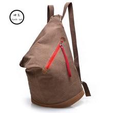 KUNDUI Personality waterproof bucket canvas backpack Student Shoulder Bags women backpacks large capacity M en travel school bag