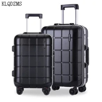 KLQDZMS 20/24Inch Men Business High Quality Aluminum Frame Trolley Travel Suitcase Fashion Women Rolling Luggage Spinner