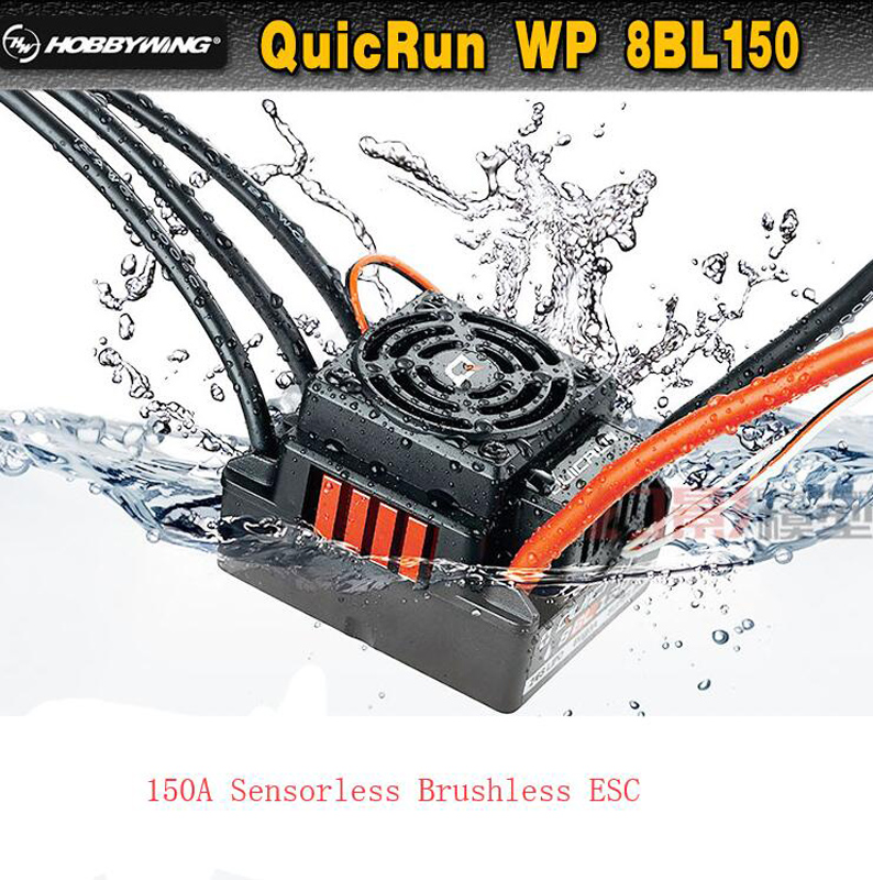 HobbyWing QuicRun WP-8BL150 Black Sensorless Speed Controller Brushless WaterProof 150A ESC for RC 1/8 Crawler Truck Buggy Car hobbywing quicrun wp 16bl30 hobbywing quicrun 30110000 brushless waterproof 30a sensorless esc wp 16bl30 for 1 16