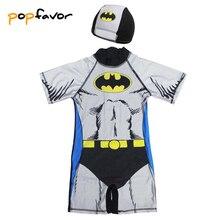 POPFAVOR/брендовый детский цельный купальник с шапкой для плавания; детский купальный костюм с рисунком Бэтмена; боди для мальчиков; купальный костюм