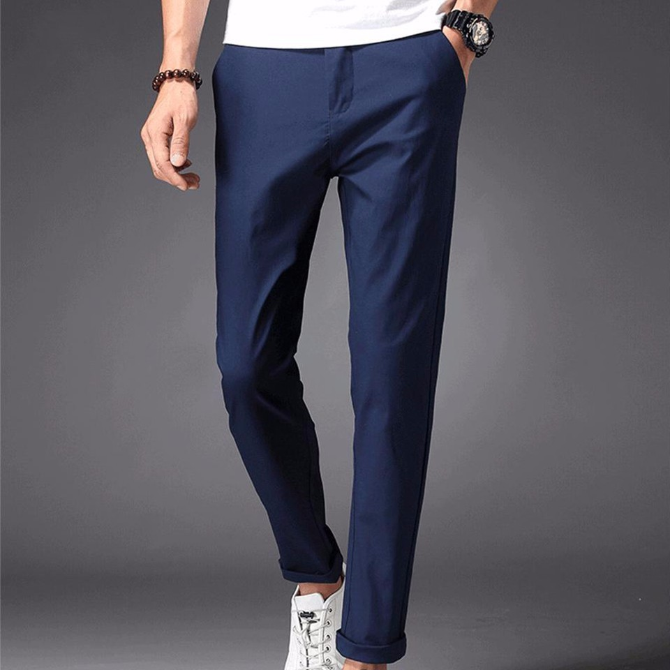 Men Casual Pants 98% Cotton 2% Spandex Spring Summer Autumn White Fashion Male Young Full Length Long Chino Slim Man Trousers