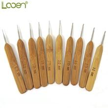10pcs Looen Mix Size 0.75mm-3mm Crochet Hook Knit Weave Yarn Craft Knitting Needle Bamboo Handle Hooks Needles Tools