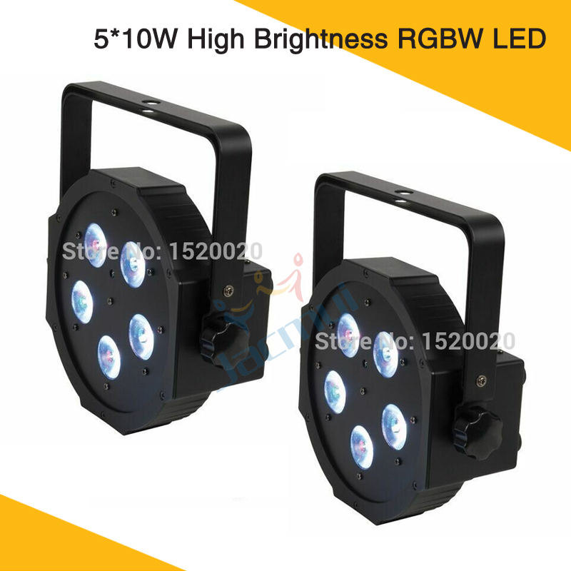 (2Pcs/Lot) Led Flat Par Light 5pcs*10W RGBW 4in1 Led Par 64 Stage Wash Light(2Pcs/Lot) Led Flat Par Light 5pcs*10W RGBW 4in1 Led Par 64 Stage Wash Light