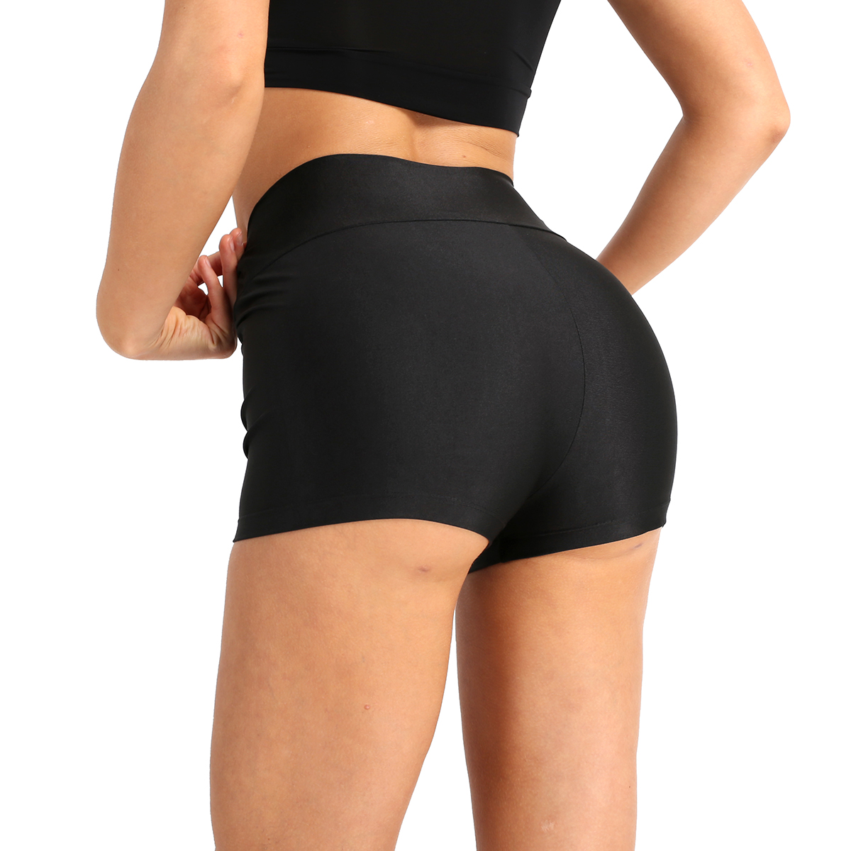 ChicTry Women High Waist Stretchy Solid Color Dance Shorts Adult Yoga Sports Casual Shorts Ballet Gymnastics Shorts Dance Wear