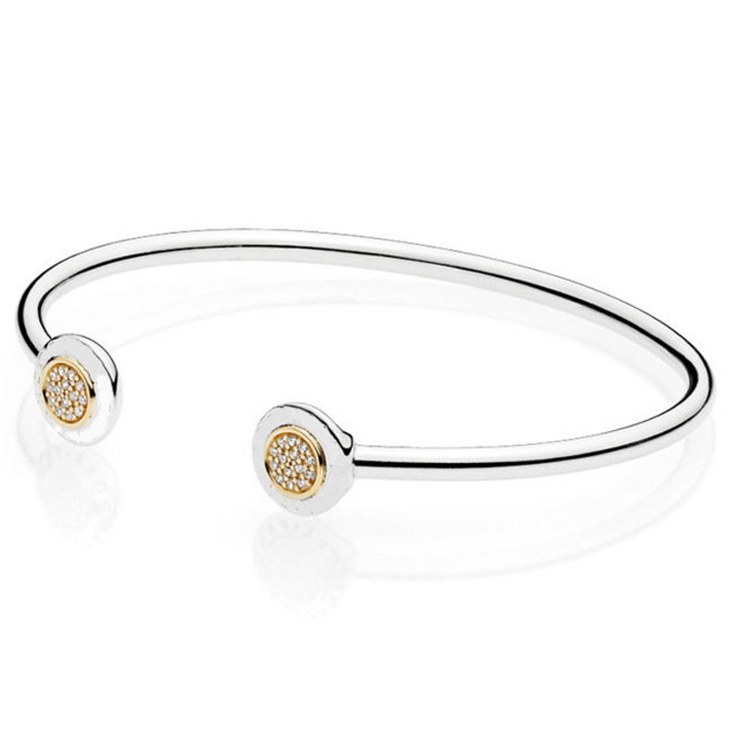 New 925 Sterling Silver Bangle Gold Color Signature With Crystal Open Bracelet Bangle Fit Women Bead Charm Diy Pandora Jewelry slovecabin 2017 new unique moment open bangle bracelet for women 925 sterling silver pave stone open bangle for bead diy jewelry