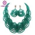 2016 Новый Бирюзовый Зеленый Африканские Бусы Комплект Ювелирных Изделий Ручной Работы Нигерии Свадьба Африканский Костюм Невесты Ювелирные Наборы Бесплатная Доставка AES940