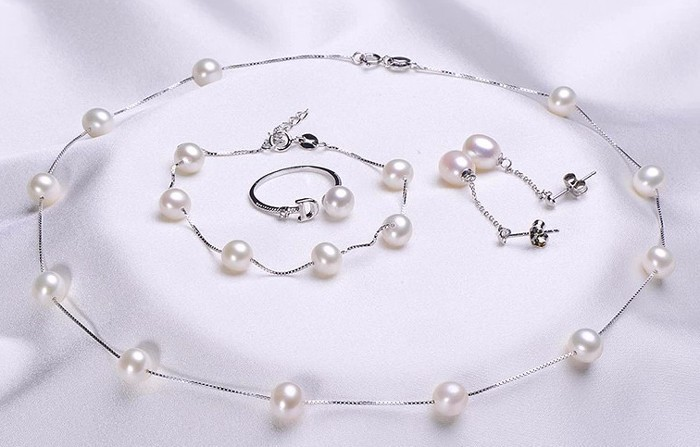 Natural Freshwater Pearl Jewelry Sets Real Pearl Necklace Bracelet Round Pearl Jewelry Sets For Women Fine
