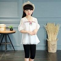 Floral Princess Baby Girls Sets Summer O Neck Kids Suit Cotton Tops Shorts 2 Piece Set