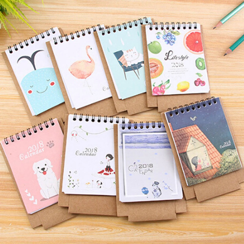 Office & School Supplies Calendars, Planners & Cards Adaptable Peerless Lovely 2018 New Mini Table Calendars Desk Calendar Office Cute Little Fresh Cartoon Animals Series