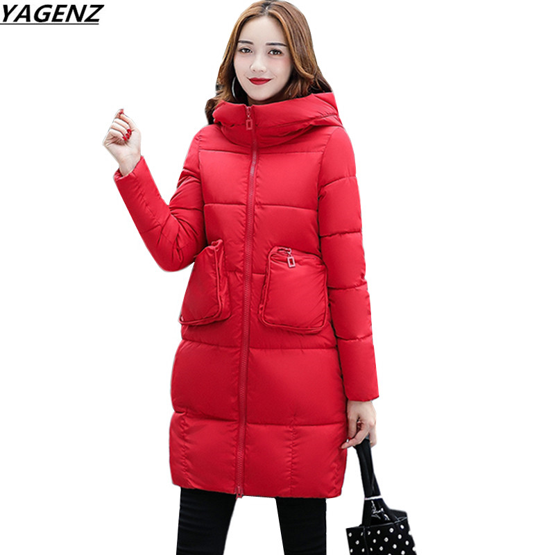 Plus Size Female Basic Coat 2017Winter Jacket  Parkas Hooded Thicken Down Cotton Coats & Jackets Medium Long Women Outerwear 619 winter jackets coats new down cotton jacket women parkas thicken hooded outerwear slim large size medium long female coat k616