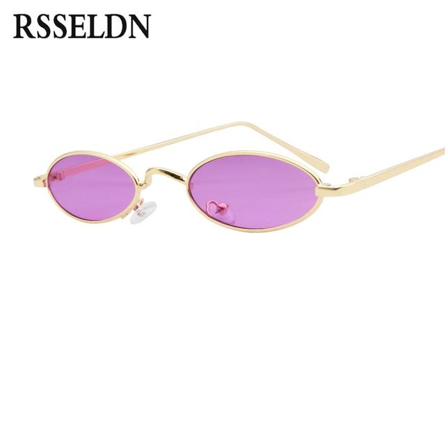 RSSELDN Moda Pequeno Oval Óculos De Sol Para Homens Armação De Metal Retro  Preto Vermelho Pequeno 810dd4b106