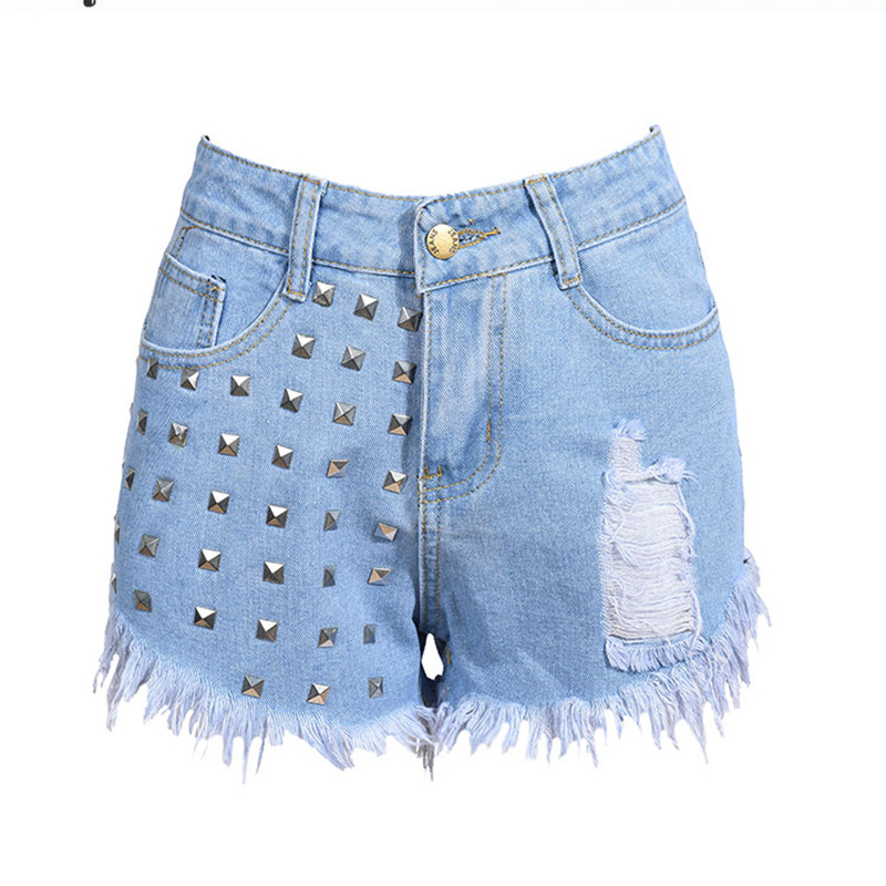 2017 European and American BF summer female sexy high waist denim shorts women worn loose burr hole rivet sequined jeans shorts