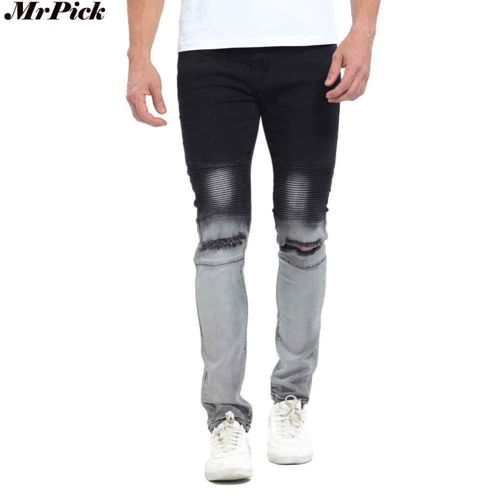 2017 Gradient Color New Men Biker Jeans Fashion Casual Skinny Slim Ripped Hip Hop Urban Stretch Elastic Jeans T0278 new fashion black ripped hip hop biker jeans stretched men s jeans pantalones vaqueros hombre bmy6607