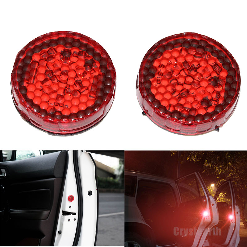 2Pcs/Set LED Warning Lamp Auto Strobe Traffic Light Red Car Door Lights Anti Collision Magnetic Control Car-styling Decorative