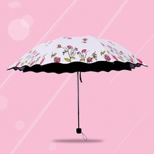 Fl Women Rain Beach Lace Umbrella Parasol Chic Pink Rose Three Folding Durable Portable Umbrellas