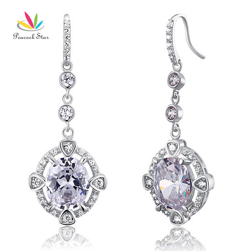 9f468aa28 Peacock Star Vintage Style Dangle Drop Earrings Solid Sterling 925 Silver  Wedding Bridal Jewelry CFE8017 ~ Free Delivery June 2019
