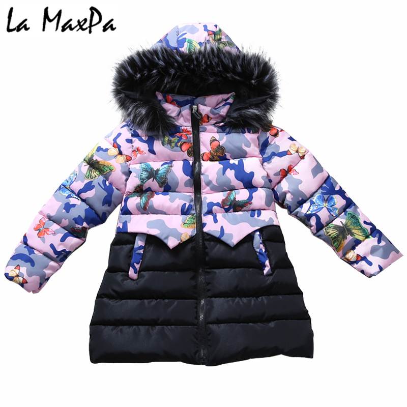 Teenage Girls 2018 New Print Thick Coat Winter Wear Costume For Size 4 5 6 7 8 9 10 11 12 13 14 Years Child Casual Down Jackets girl long korean tide thick warm down jacket winter for size 6 7 8 9 10 11 12 13 14 years child new black blue green outerwear