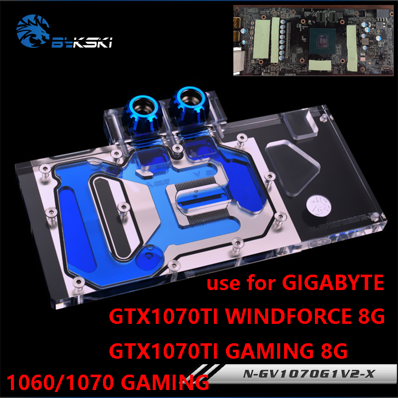 BYKSKI Full Cover Graphics Card Water Block use for GIGABYTE GTX1070TI-GAMING-8G/1070TI-WINDFORCE-8G GTX1060/1070 G1 GAMING vg 86m06 006 gpu for acer aspire 6530g notebook pc graphics card ati hd3650 video card