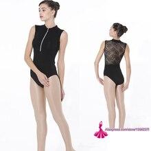 Leotardo de gimnasia para adultos, nuevo diseño 2020, vestido de Ballet de encaje Sexy con cremallera de alta calidad, Leotardos de Ballet para mujeres, leotardo morado